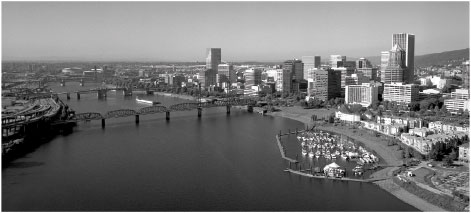 The Portland, Oregon, skyline from above the Willamette River