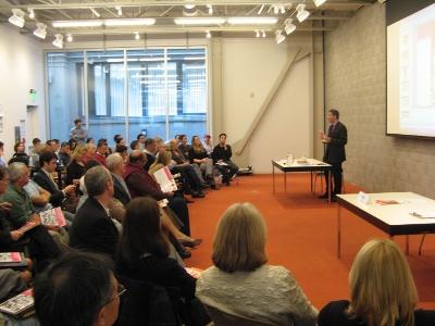 Tim Tompkins speaks at the SPUR Urban Center
