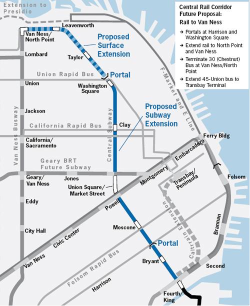 San Francisco Central Subway Map