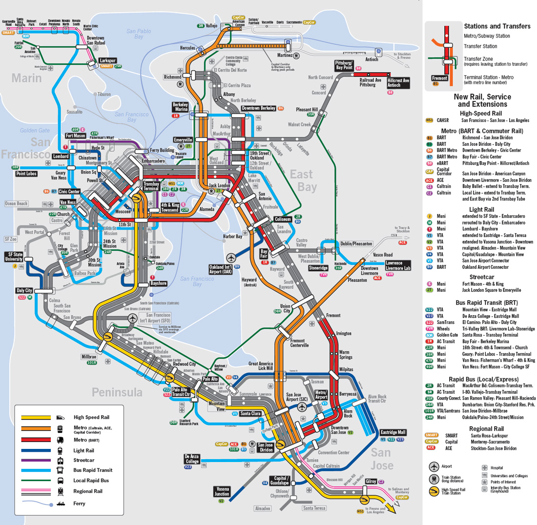 bay area  the bart metro map – future travel -  hypothetical unified bay area rail map