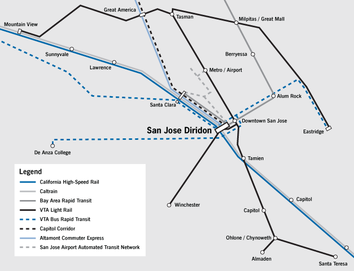 Diridon Rail Map
