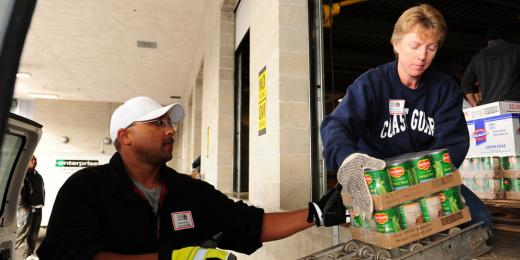 Canned goods being delivered at a food bank