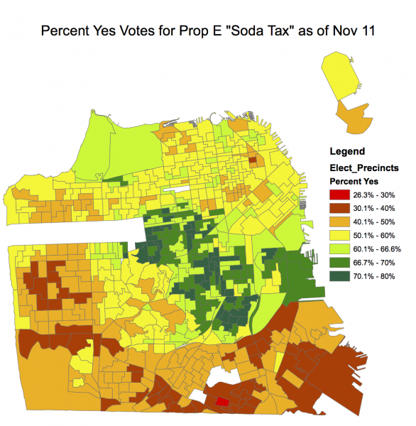 Map of Prop E Yes Votes by Precinct in San Francisco