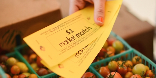 Market Match being used at a farmers' market.  Courtesy of the Ecology Center.