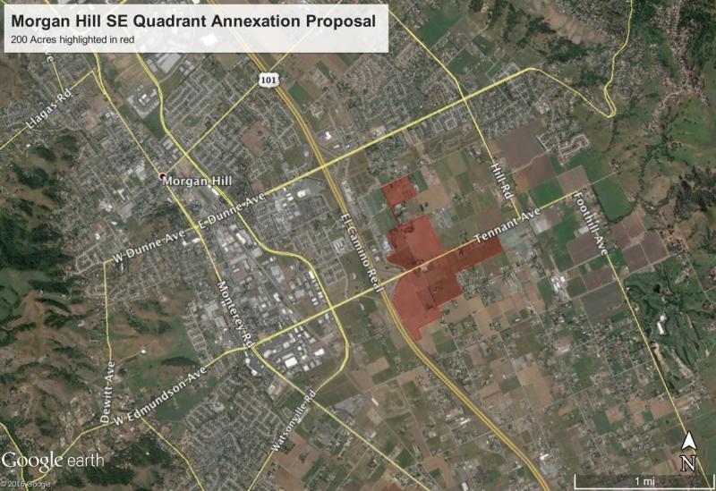 Satellite image highlighting Morgan Hill's Southeast Quadrant annexation proposal