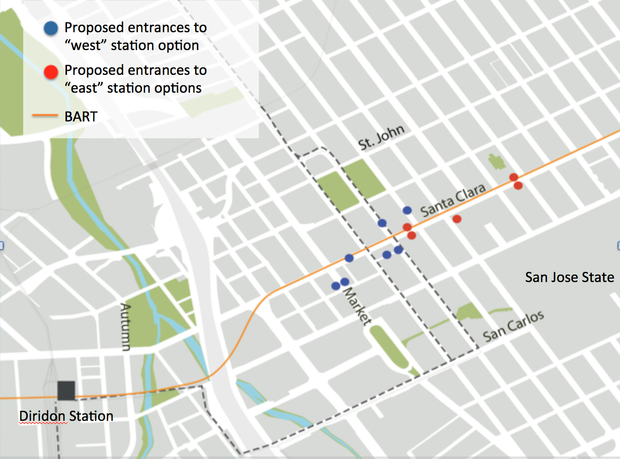 Where to Put the Downtown San Jose BART Station Go West SPUR