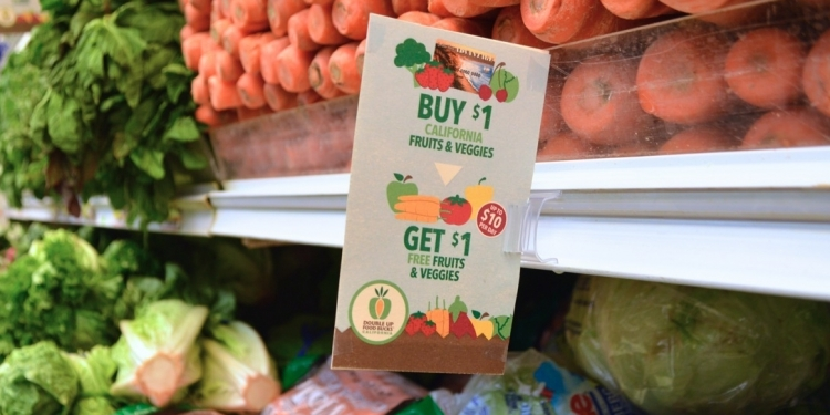 Double Up Food Bucks shelf signage