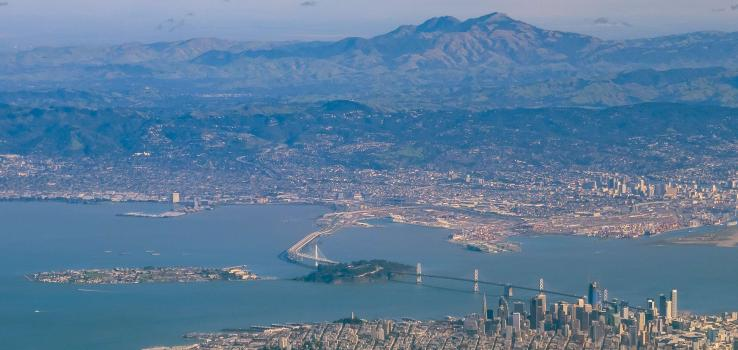 A view of San Francisco's Bay Bridge and surrounding areas